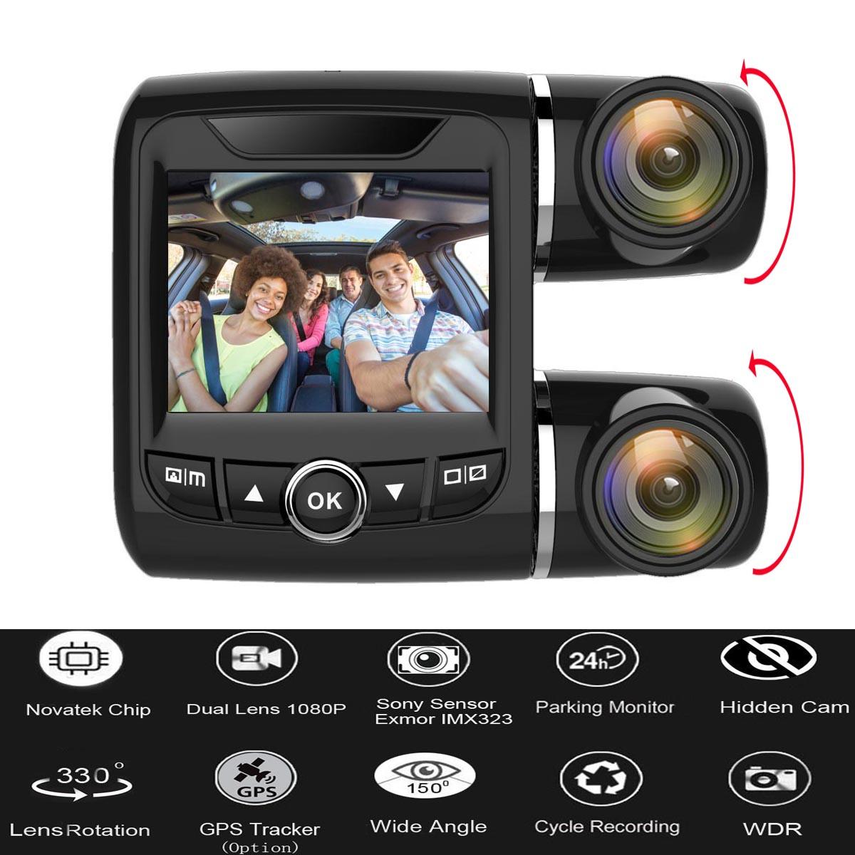 150° Dual Lens GPS Car DVR FHD 1080P Dash Cam Video Recorder Parking Monitoring