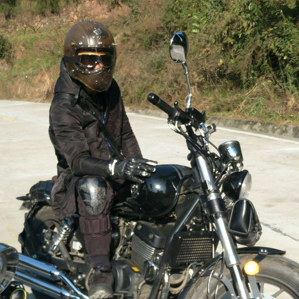 Full Face Cruiser Helmets >> Vintage Full Face Motorcycle Helmet Deluxe Leather W Goggles Street