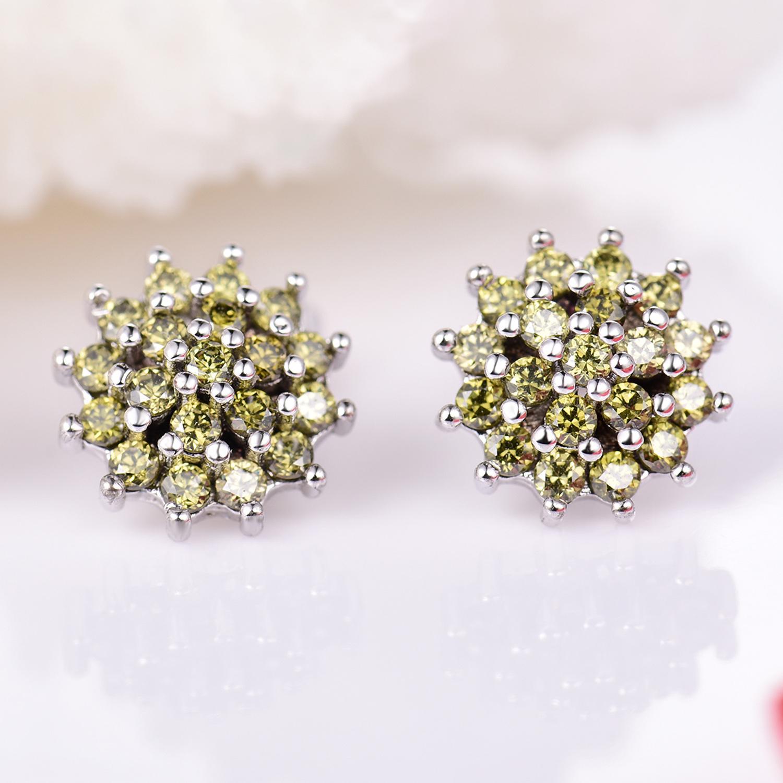 4083c6849 Details about Yellow Hydrangea Flower Swarovski Crystal Silver Gold Filled  Women Stud Earrings