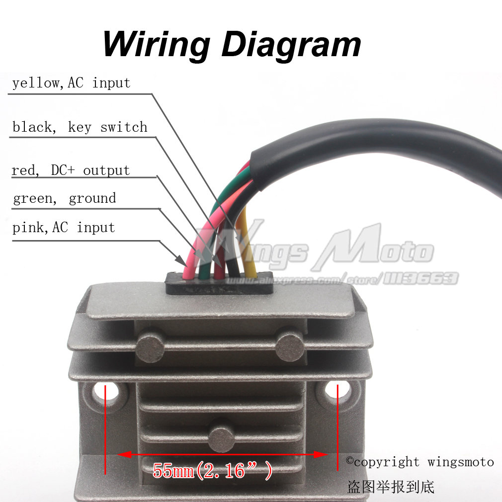 5 wires 12v voltage regulator rectifier motorcycle dirt