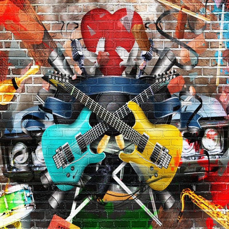 Brick Wall 8x8ft Music Concert Graffiti Studio Props Backdrop Photo