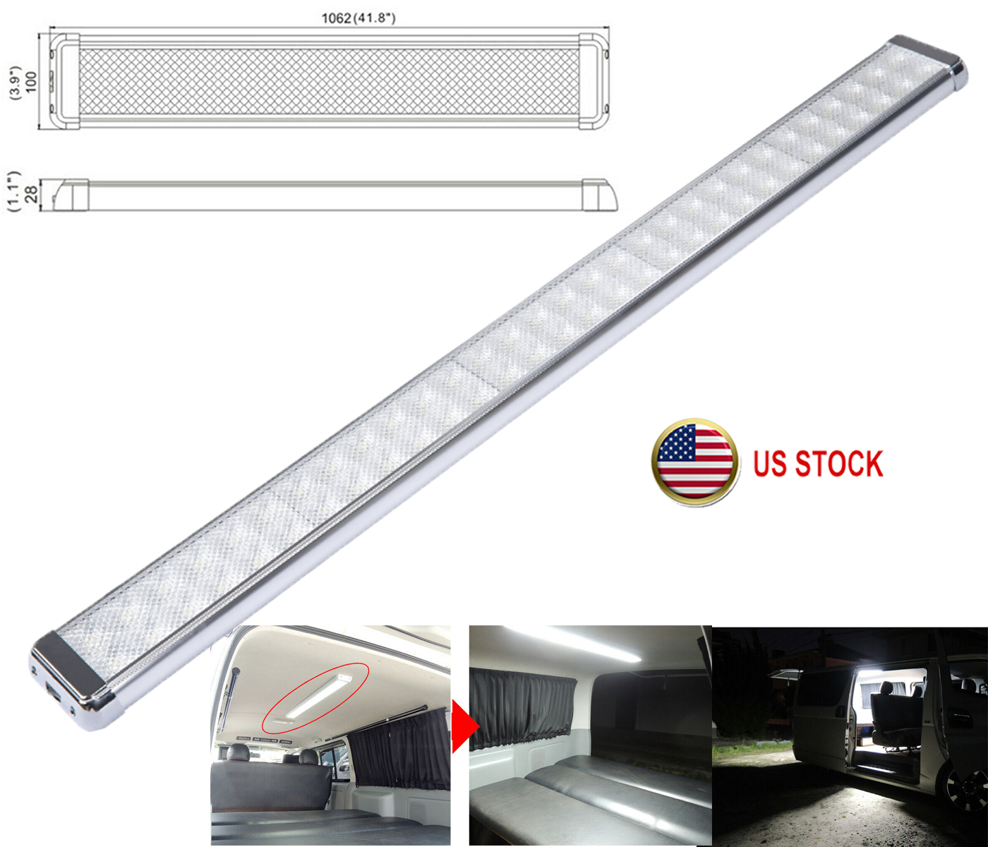 """8/"""" RV Marine Ceiling Dome Light Cabinet Roof LED Lamp 12V 6000K with Switch"""