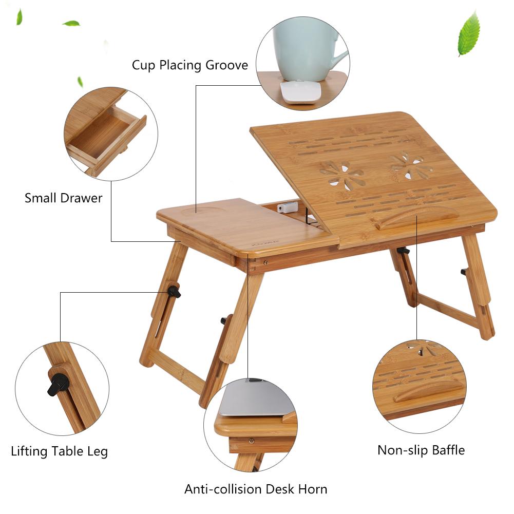 Flexible Folding Bamboo Laptop Desk Notebook Book Reading