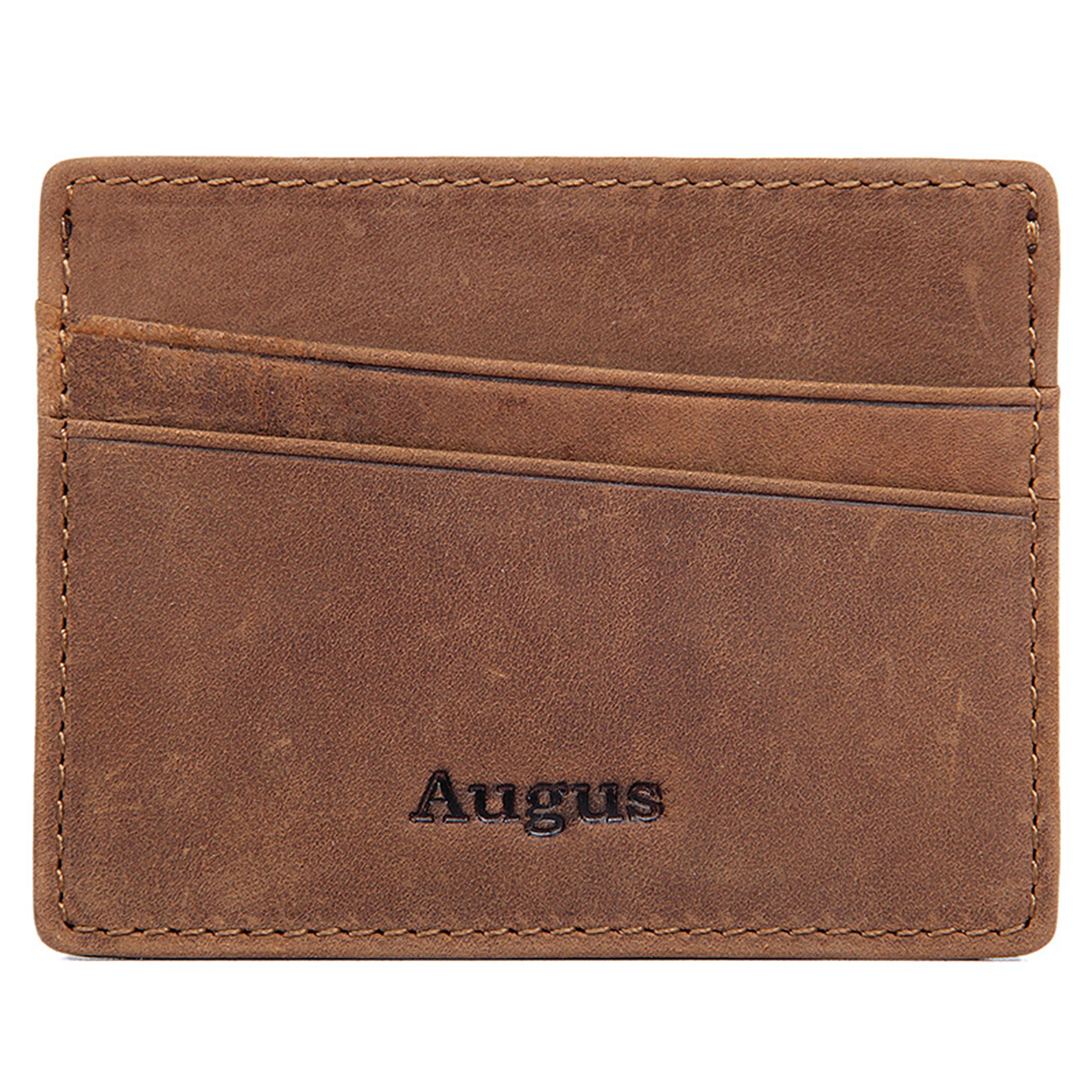 Augus Genuine Leather RFID Blocking Card Holder Case Credit Card ID Security
