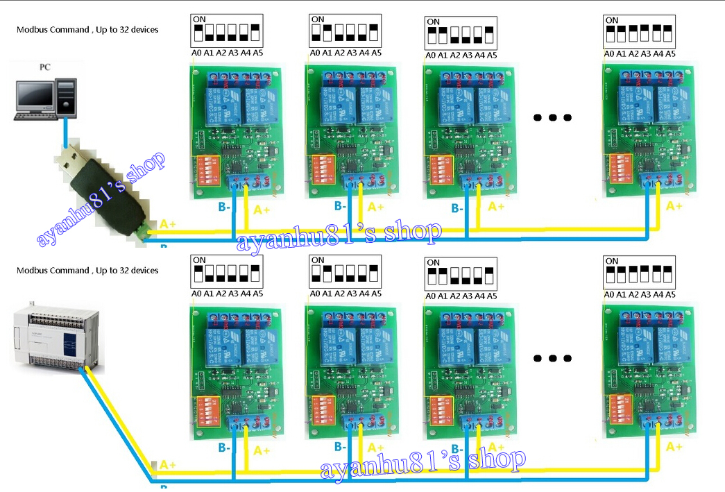 dc 12v 2ch rs485 relay board modbus rtu at command switch