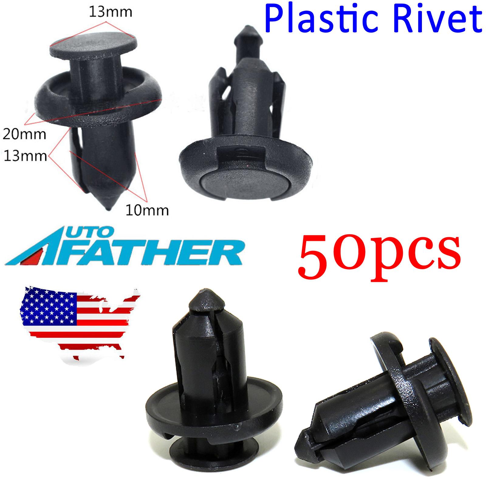 50 x Plastic Nylon Rivet Fastener Bumper Clip Retainer Screw Fender For Honda
