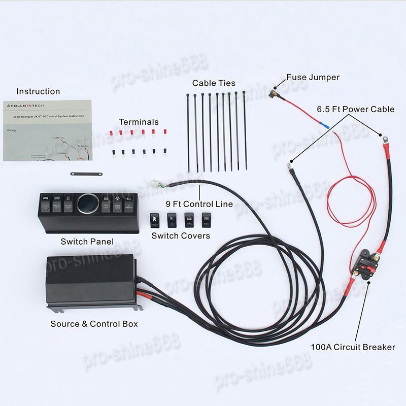 6 Rocker Switch Panel Cotrol Bracket With Digital Voltmeter For Jeep JK 2007-16