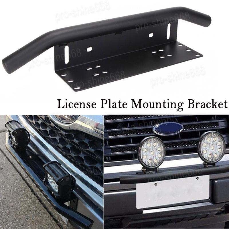 2018 Bar Front Bumper License Plate Mount Bracket Led Work