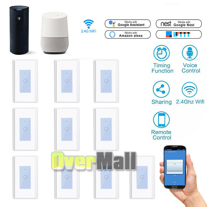 Smart Wi-Fi Wall Touch LED Light Switch APP Remote Module For Alexa Google Home