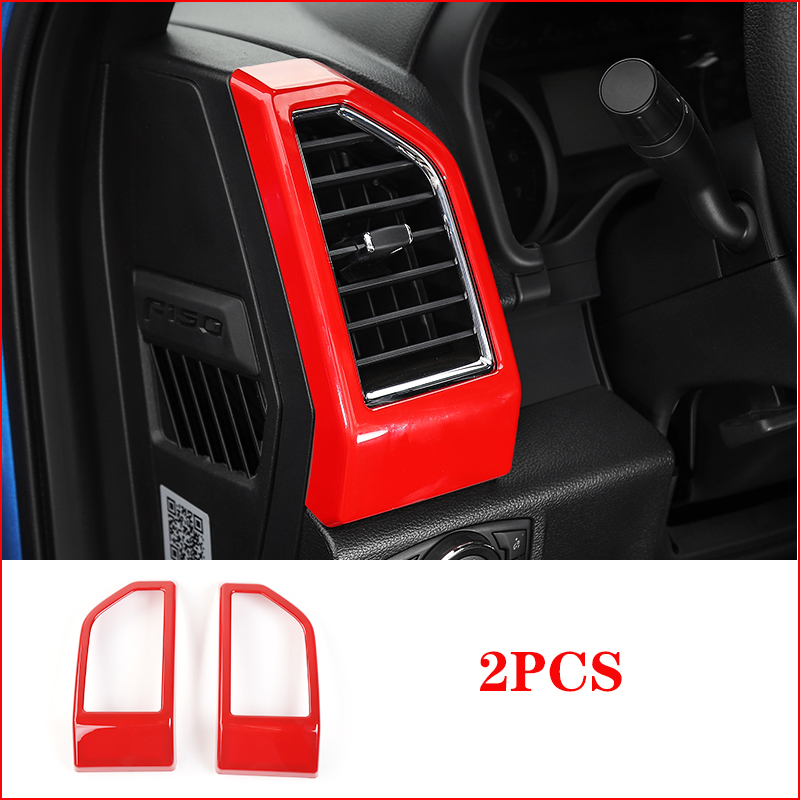 Red JeCar Car Interior Side Door Air Conditioning Vent Outlet Decoration Cover Trim Frame for Ford Mustang 2015-2017