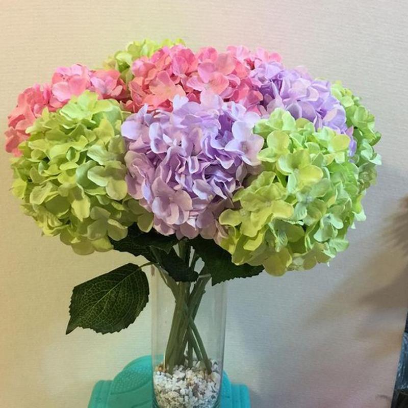 Hortensias artificiales flores de seda hoja ramo boda for Plantas artificiales decoracion
