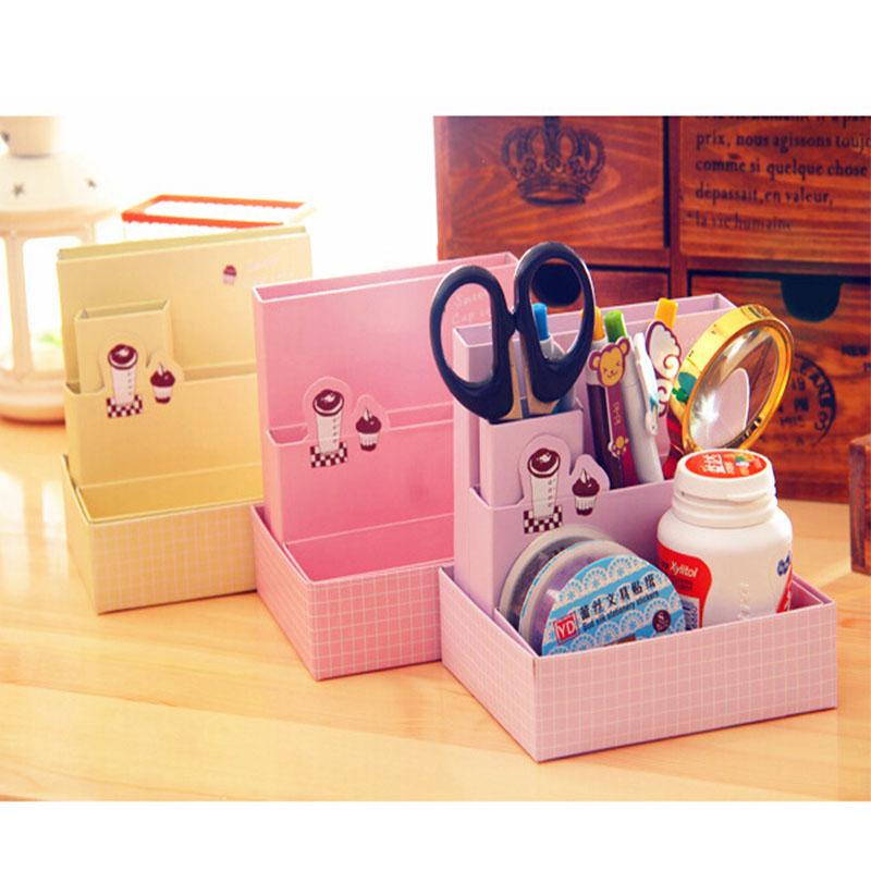 New diy paper board storage box desk decor stationery - Makeup organizer desk ...