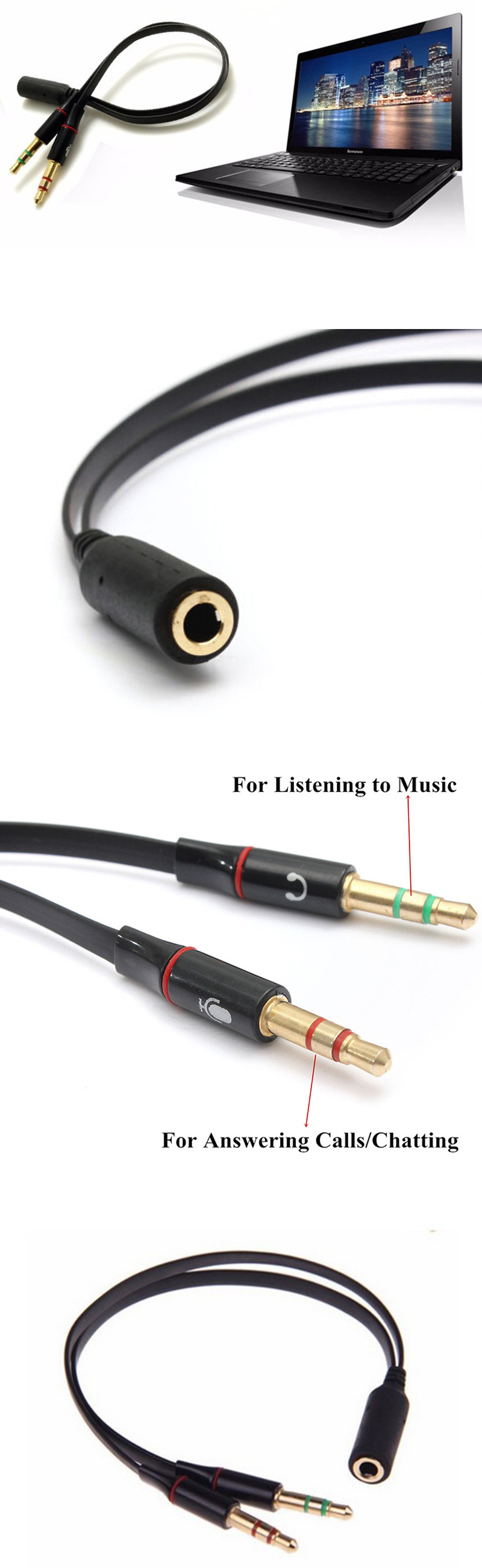 jack audio mic y splitter female to 2 male cable. Black Bedroom Furniture Sets. Home Design Ideas