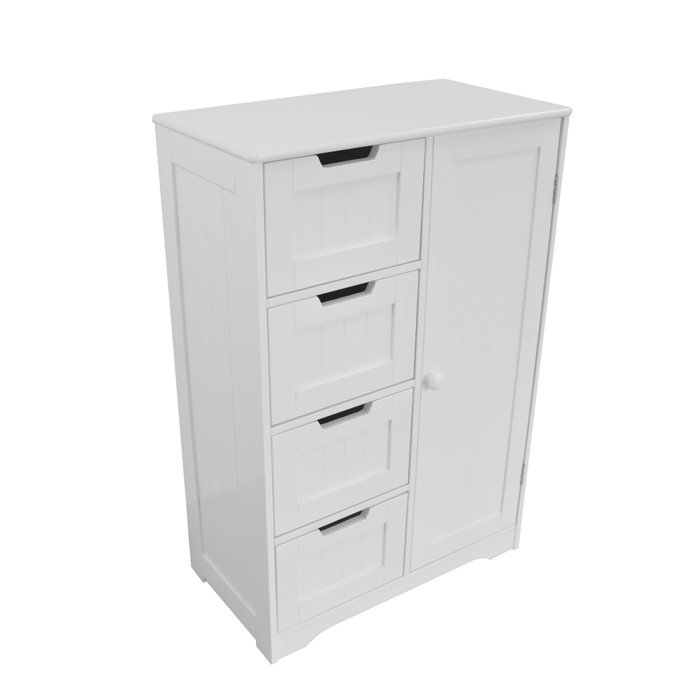 White Wood Storage Cabinet Cupboard Bathroom Furniture