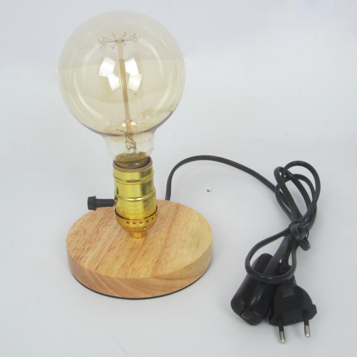 Desk Light Socket: Modern Industrial Vintage Edison Wooden Base Socket E26