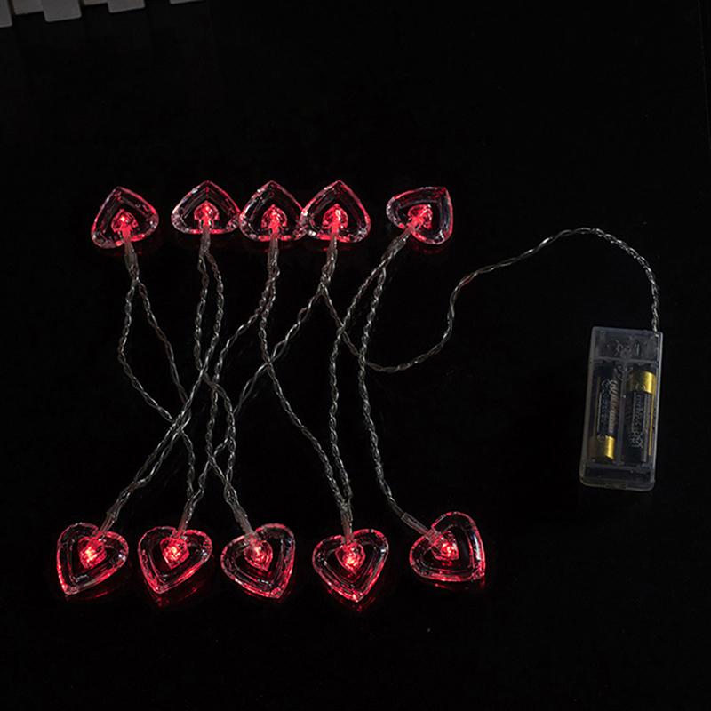 Double Heart 10 LED Bulbs String Light Battery Operated For Wedding Christmas eBay