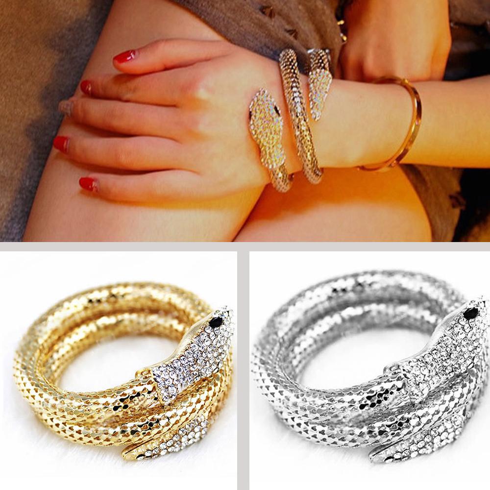Arm Cuff Jewelry: New Punk Crystal Rhinestone Curved Snake Upper Arm Cuff