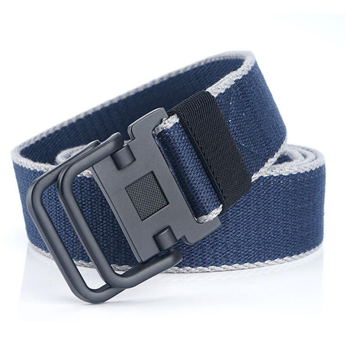 1.5inch Mens Canvas Webbing Belts Double Loops Buckle Sports Trousers Belt New