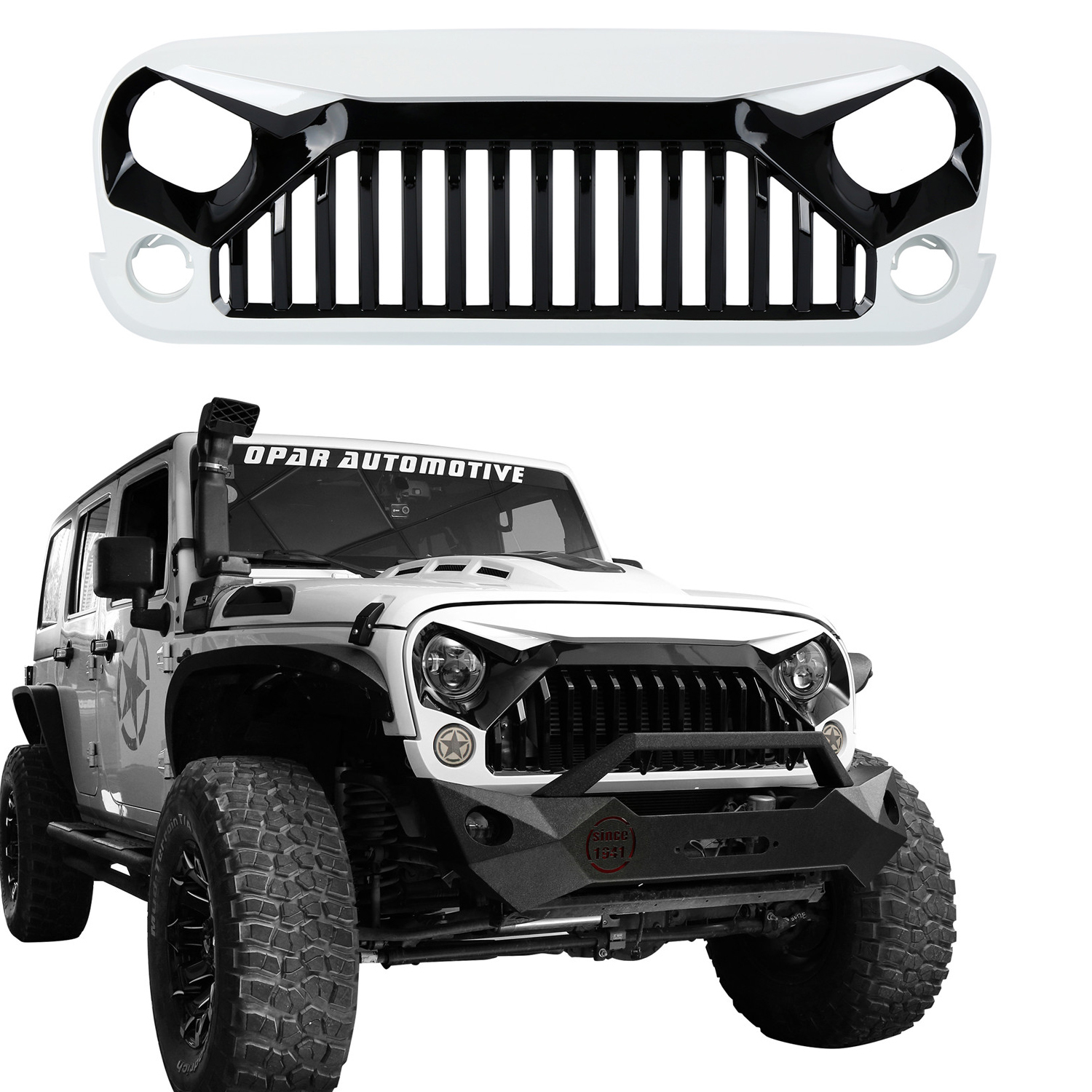 Upgrade Angry Bird Front W7 White Grill Grille Hood For 07-18 Jeep Wrangler  JK