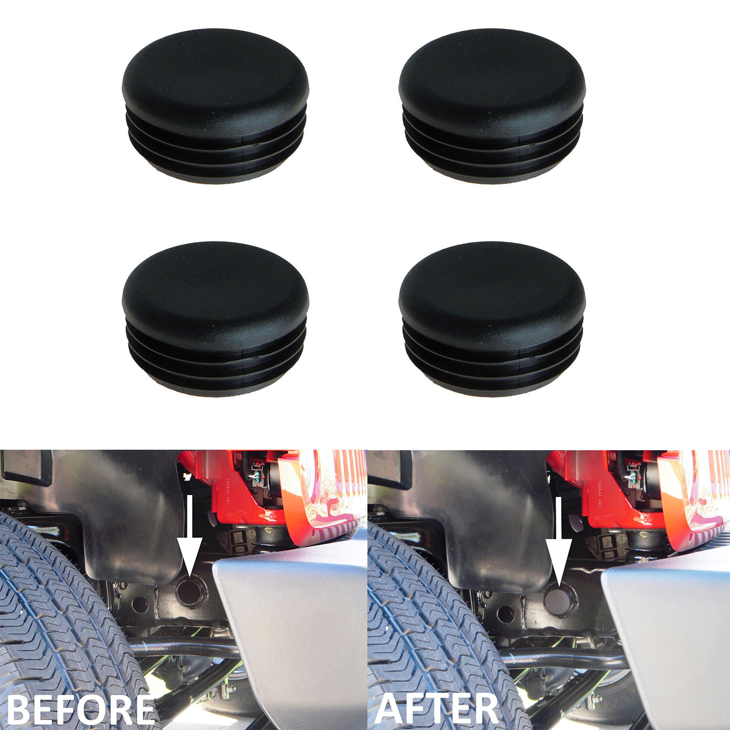 4Pcs Black ABS Front Frame Tube Hole Plugs For Jeep Wrangler JK JKU ...