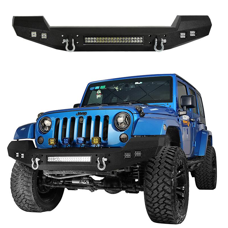 Steel Mid Front Rear Bumper W// LED Lights /& D-Rings For 07-18 Jeep Wrangler JK