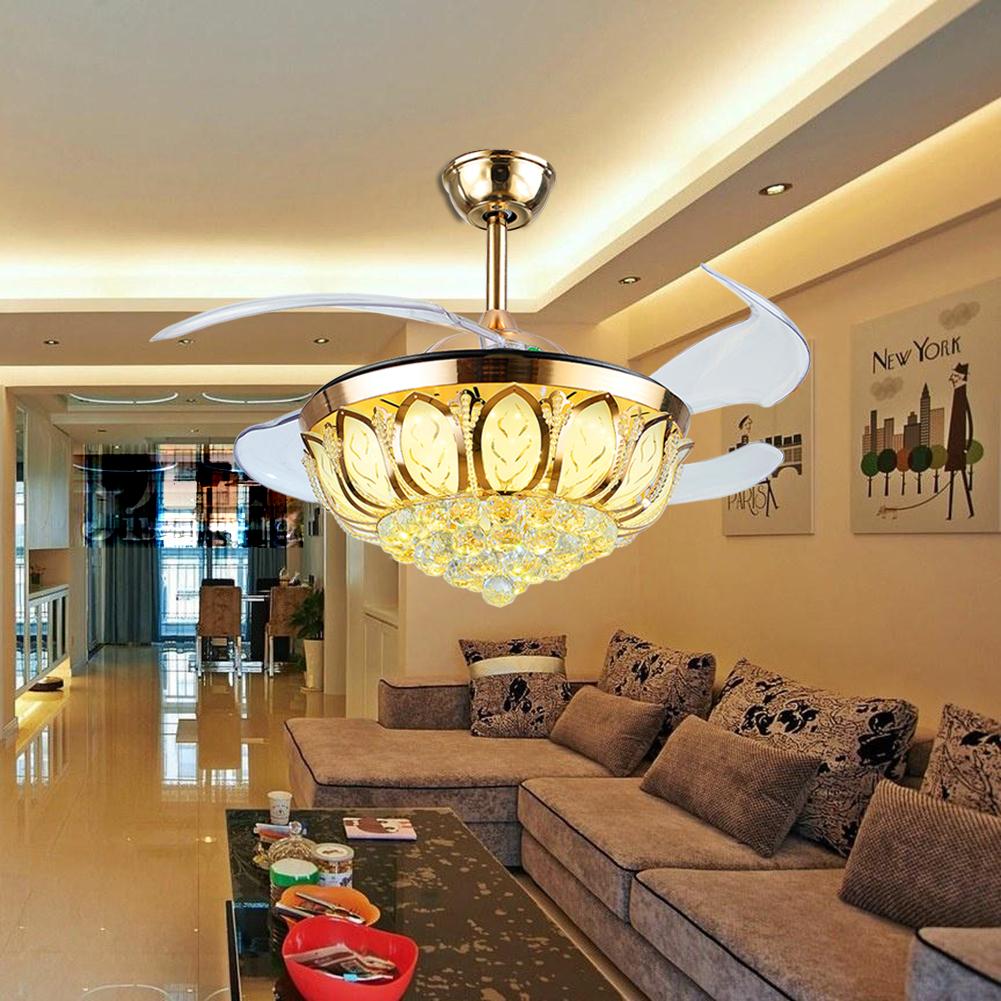 42 Quot Led Crystal Ceiling Fan Light Chandelier Lighting