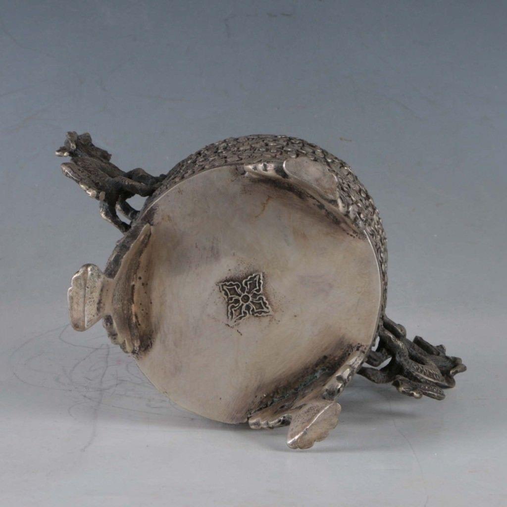 Exquisite-Tibetan-Silver-Dragon-Incense-Burner miniature 3