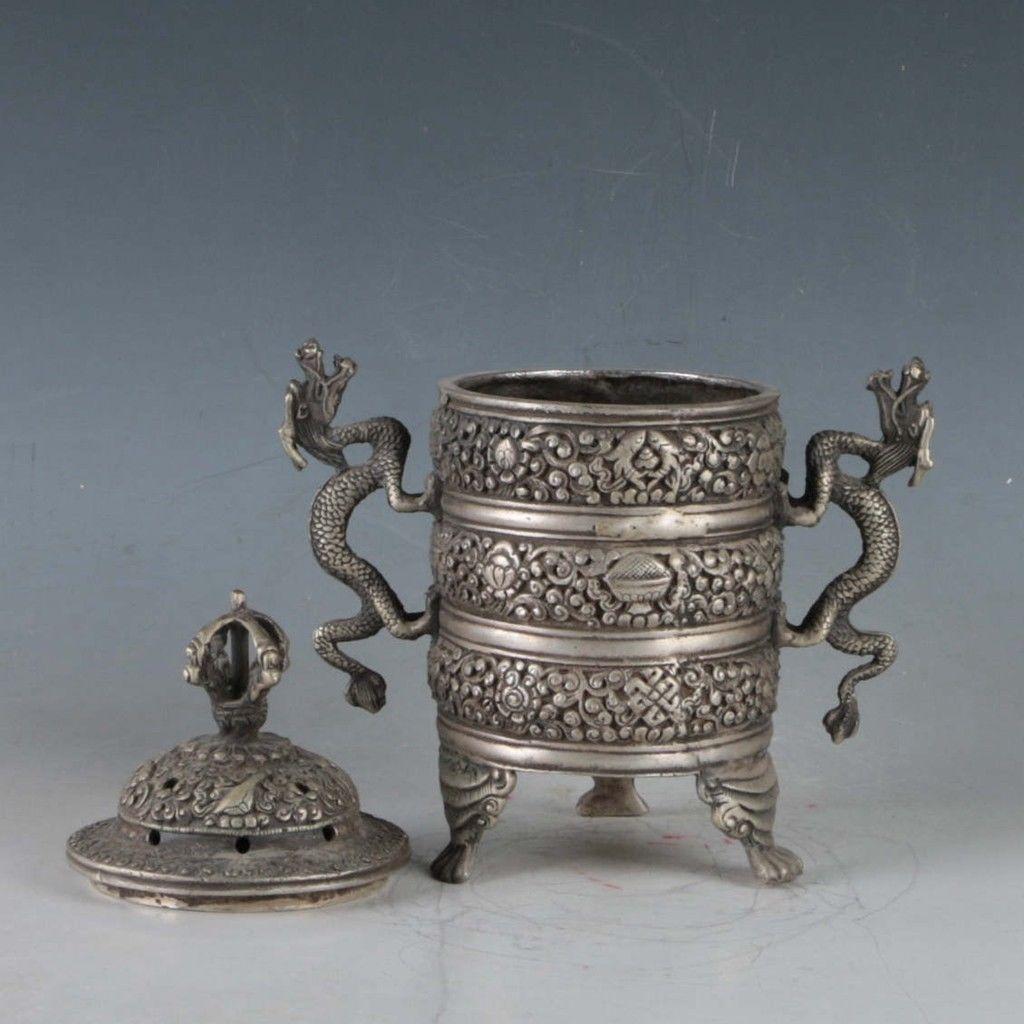 Exquisite-Tibetan-Silver-Dragon-Incense-Burner miniature 4