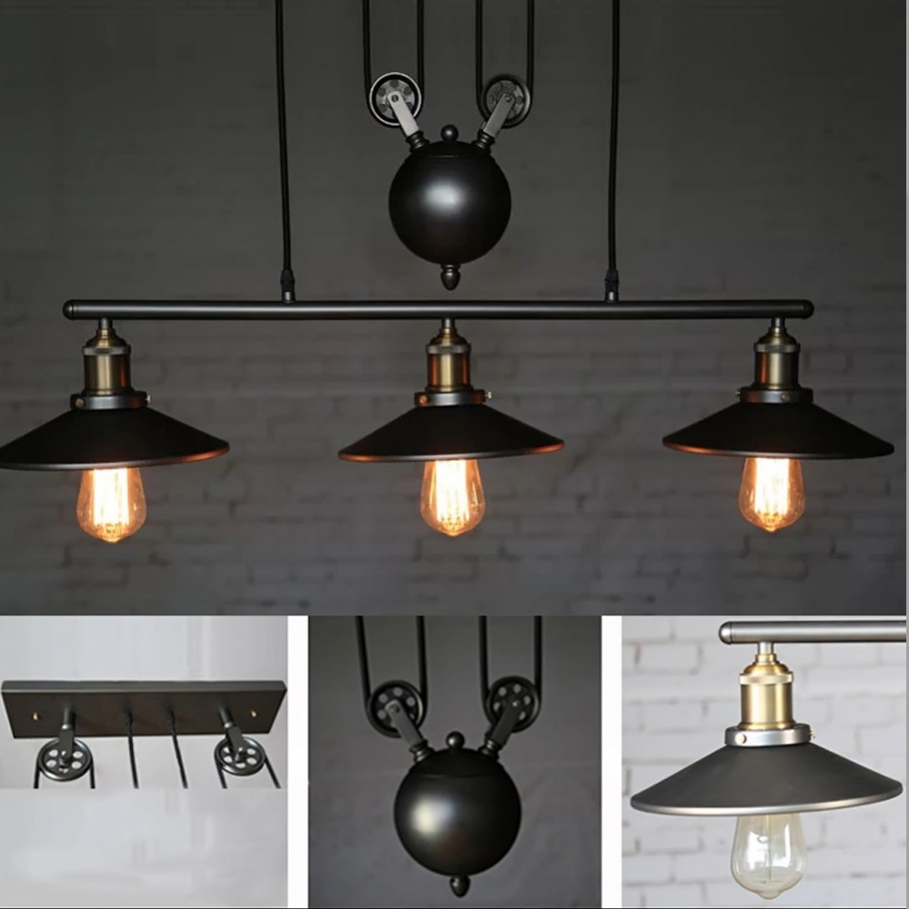 pulley lighting. Industrial Retro Vintage Hanging Ceiling Light Pendant Retractable Pulley Lamp Lighting