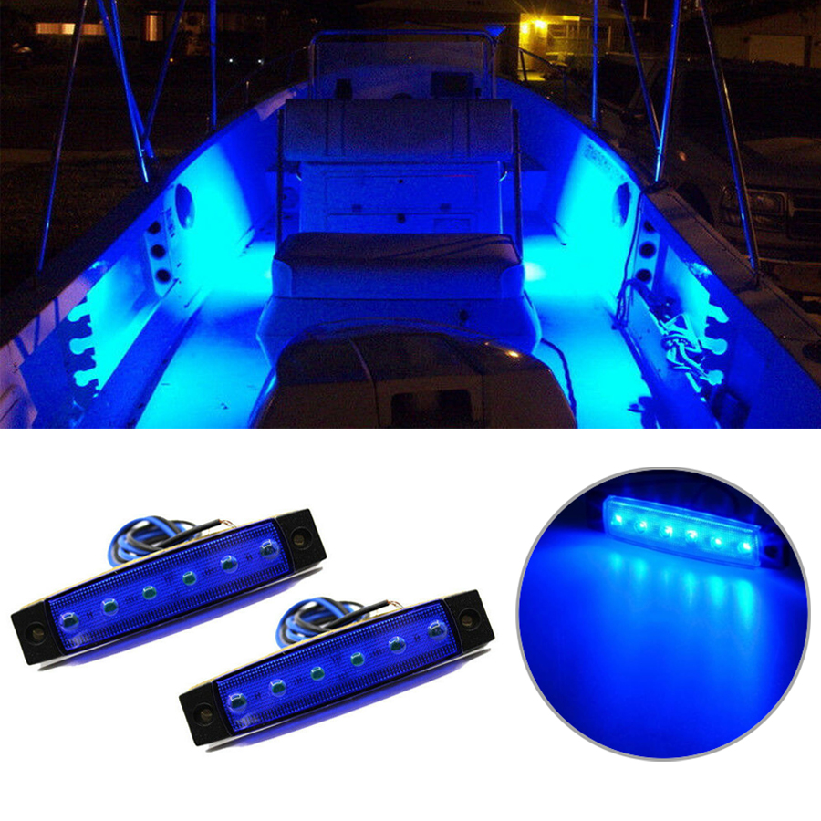 Details About 2pcs Marine Led Light Courtesy Utility Strip For Boats 12 Volts Blue