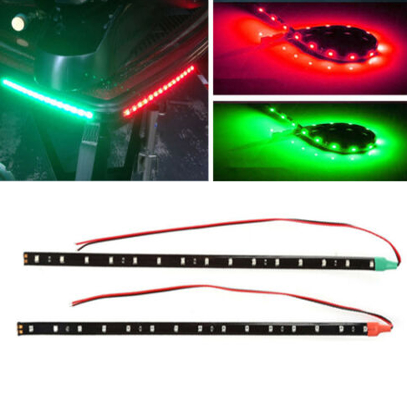 "2pcs 12/"" 12V LED Strip Light RED/&GREEN For Bow Boat Marine Navigation Waterproof"