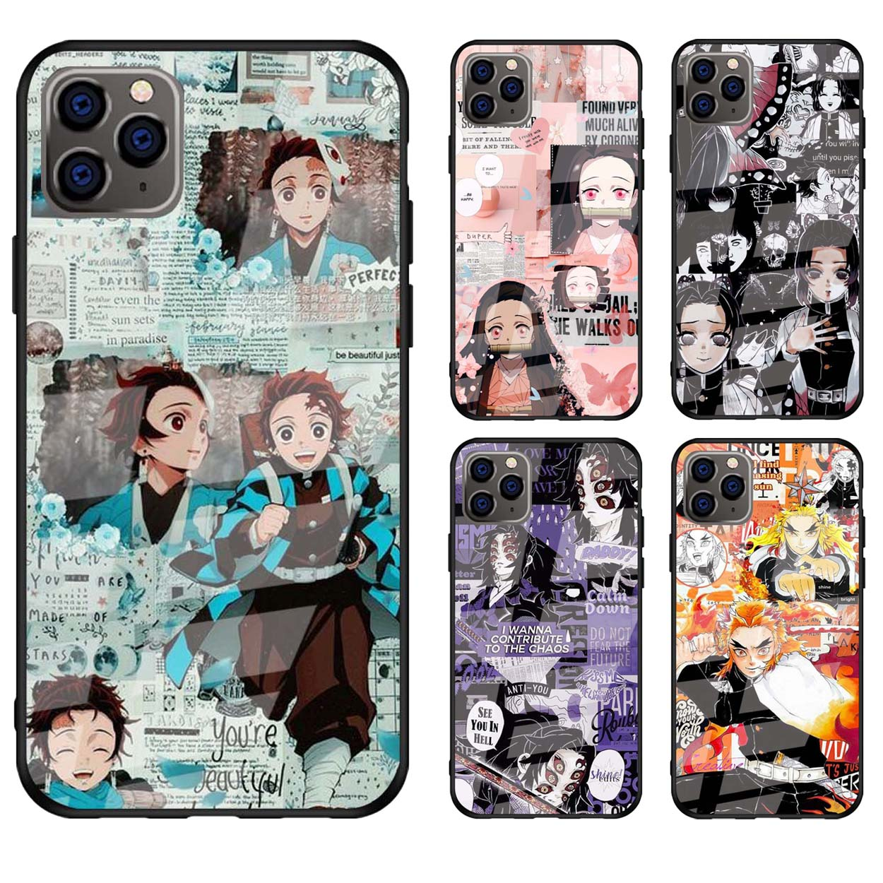 Anime Demon Slayer Tempered Glass Case Cover for Apple iPhone 11 ...