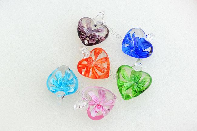 FREE Wholesale lots 24pcs Heart Flower Lampwork Glass Pendants DIY Necklace