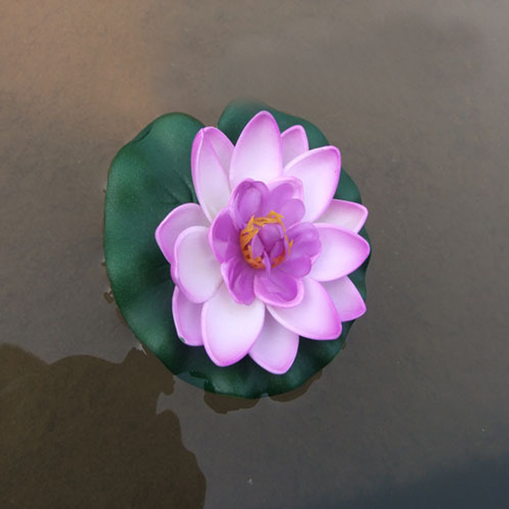 1pc artificial lotus water lily floating flower garden for Floating flowers in water