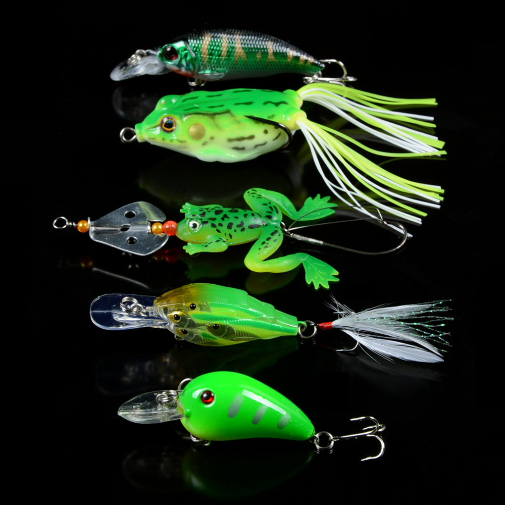 Details about New 5pcs/Lot Mixed Soft Frog bait and Crank Fishing Lures  Bass Fishing Tackle