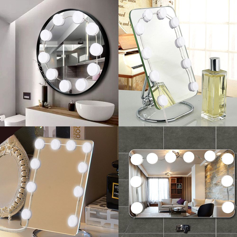 new style 5f4c7 bd532 Details about Hollywood Style LED Makeup Vanity Mirror Lights Kit with  Dimmable 10 Light Bulbs