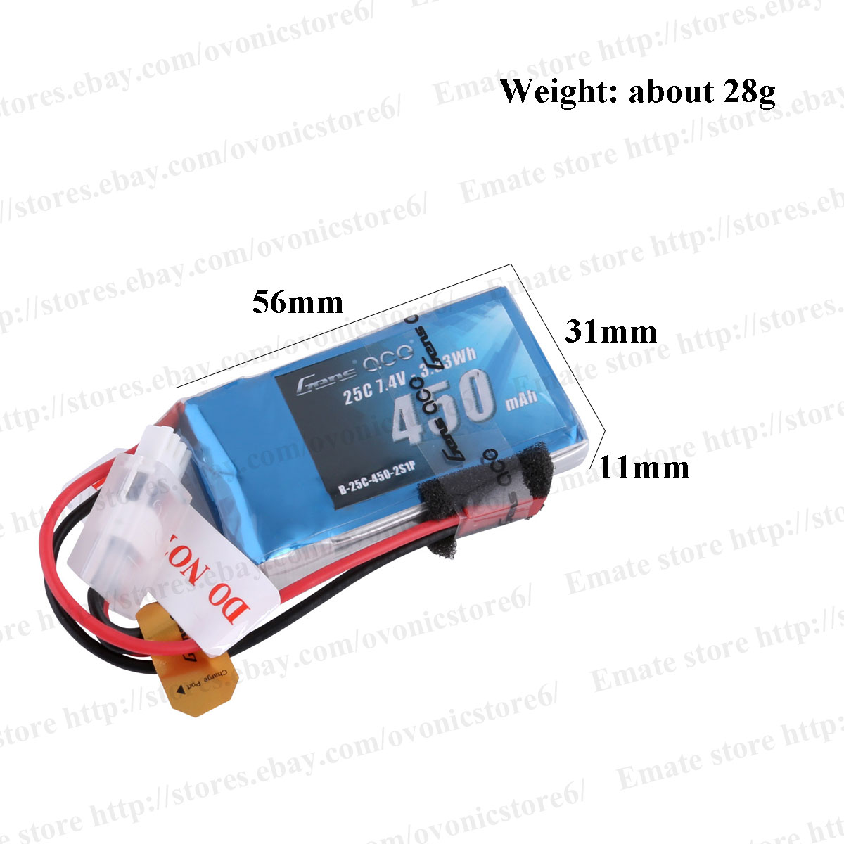 4X Gens ace Battery Pack 450mAh 7.4V 25C 2S1P JST-SYP Plug For RC ...