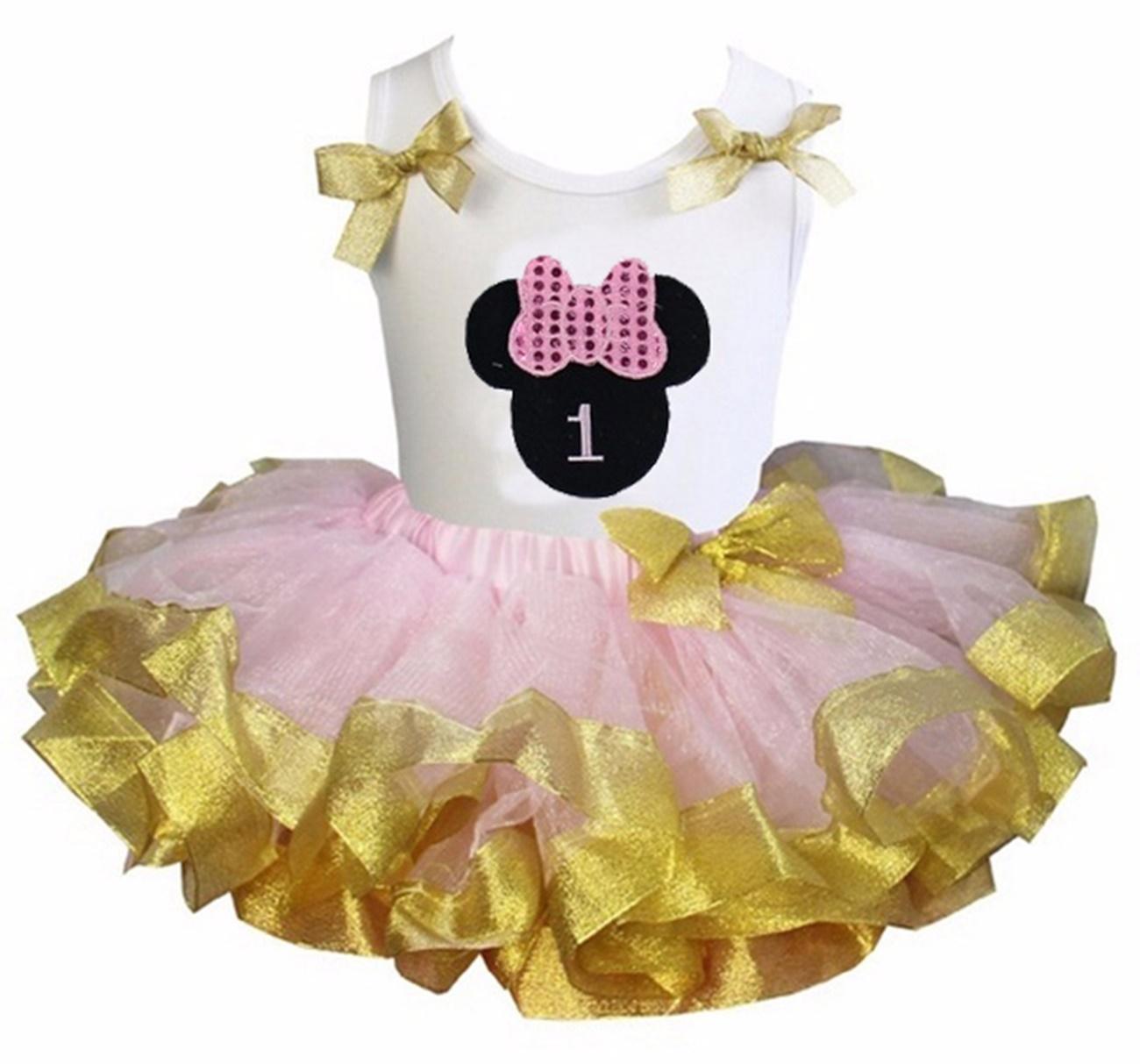 Light Pink Gold Satin Trimmed Tutu 1st 6th Birthday Dress Minnie