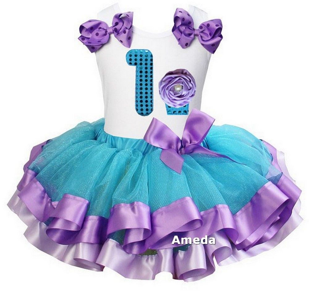 0856e723f15fc Girls Blue Lavender Satin Trimmed Tutu & Princess 1st - 6th Bithday Tee  Dress