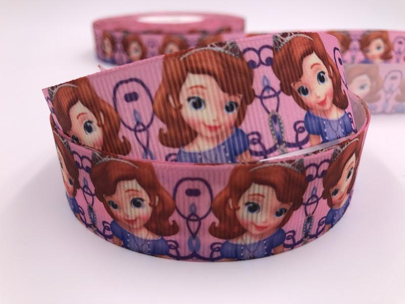 1/'/'25MM pink bread Printed Grosgrain Ribbon Hair Bow Sewing Ribbon DIY Craft