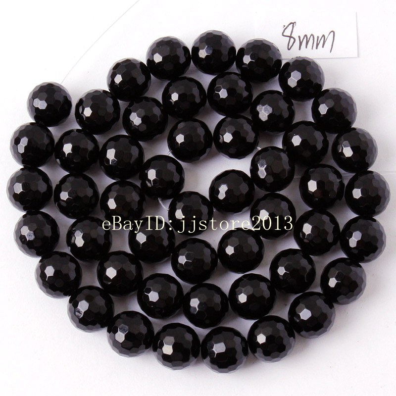 8mm Faceted Black Agate Onyx Gemstone Round Loose Bead 15/'/'