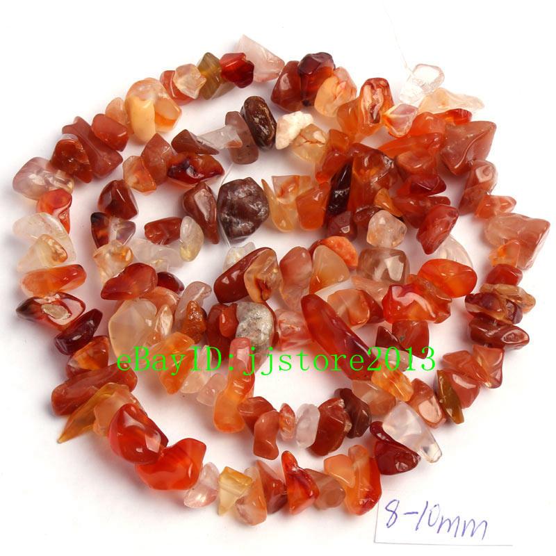 "6-8mm Natural Red Carnelian Onyx Freeform Gravel DIY Gems Loose Beads Strand 16/"""