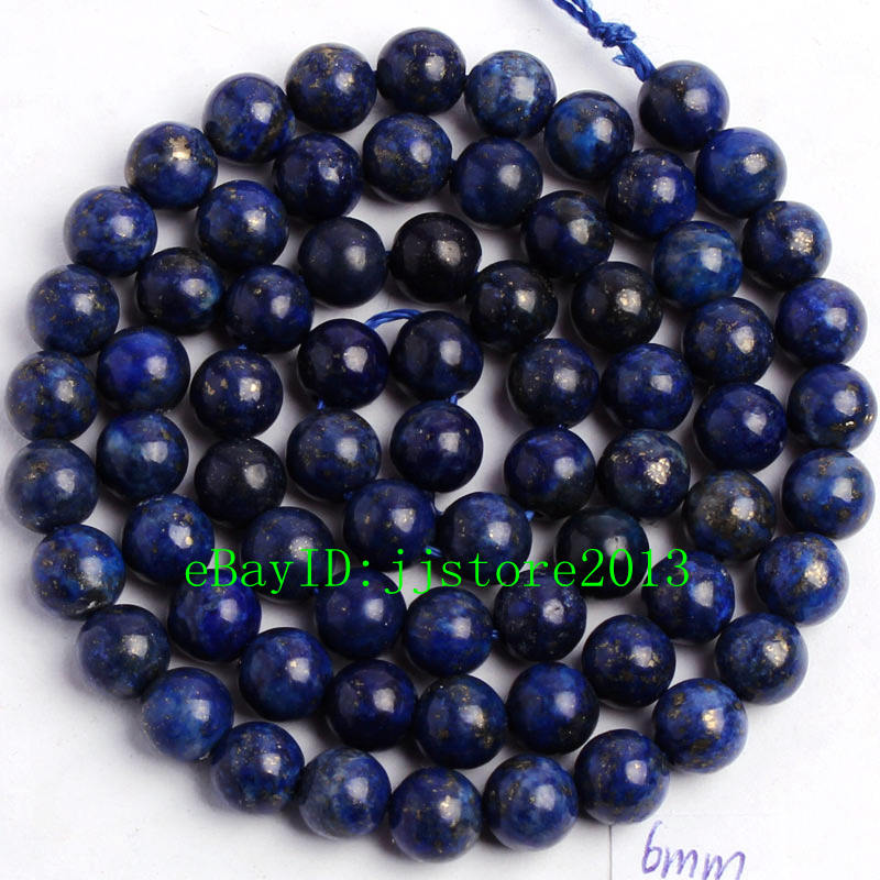 """6mm Smooth Natural Lapis Lazuli Round Shape DIY Gemstone Loose Beads Strand 15/"""""""