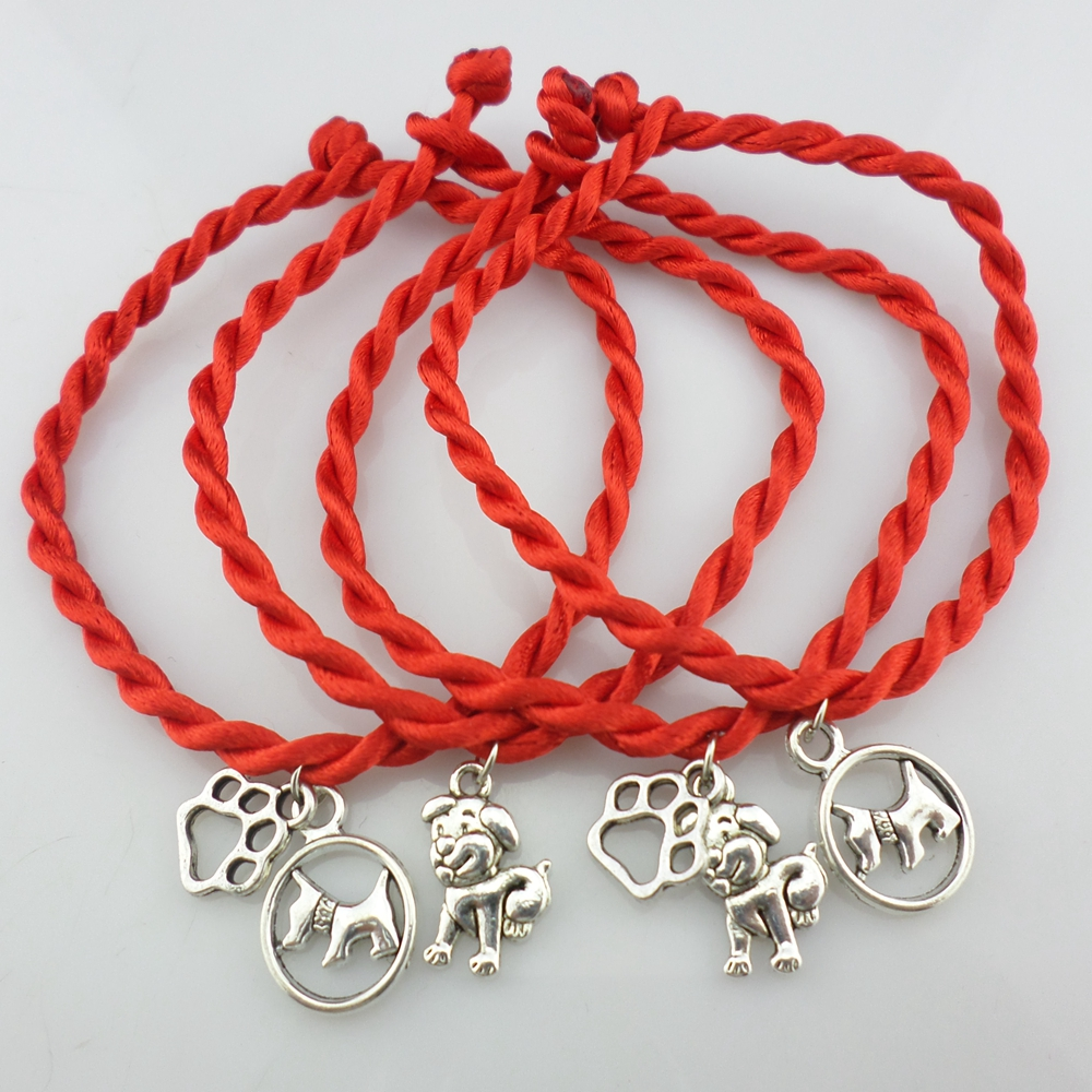 Details About Red Rope Weaved Dog Paw Print Bracelets Best Friend Charms Diy Bangle Pet