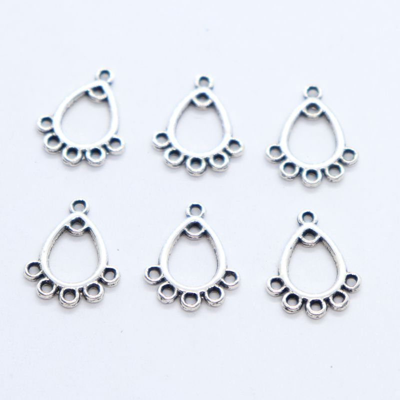 30//90pcs Tibetan Silver Earring Connectors Charms Pendants Jewelry Findings
