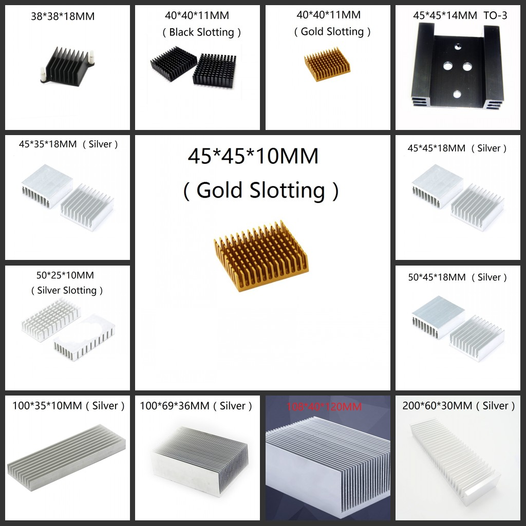 8.8-200mm Aluminum Heatsink Heat Sink Thermal Cooling Fin Blades 3-Color,CPU IC