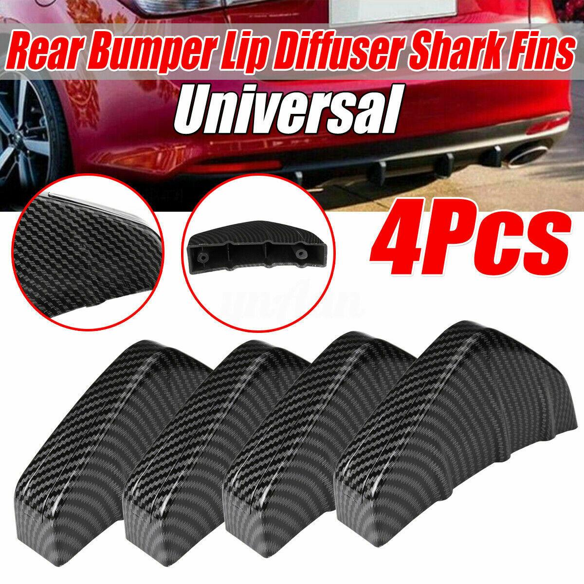 4Pcs Rear Bumper Fins Spoiler Wing Lip Splitter Carbon Fiber Look Accessories