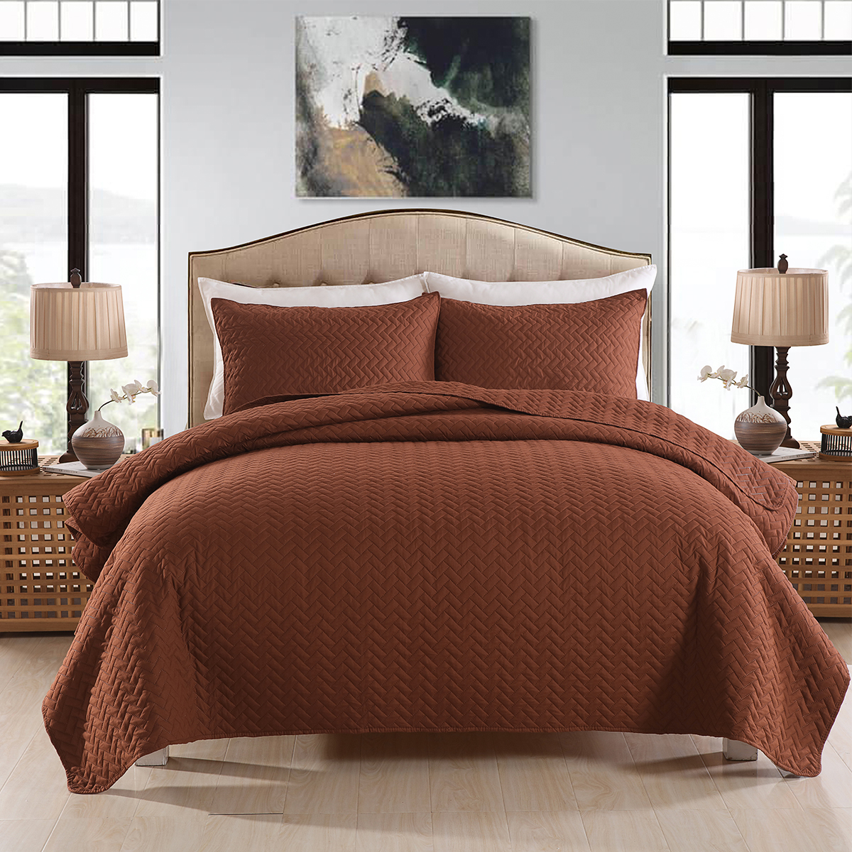 Coffee Brown Quilt Set Bedspread Zig Zag Soft Reversible Bedding Cover