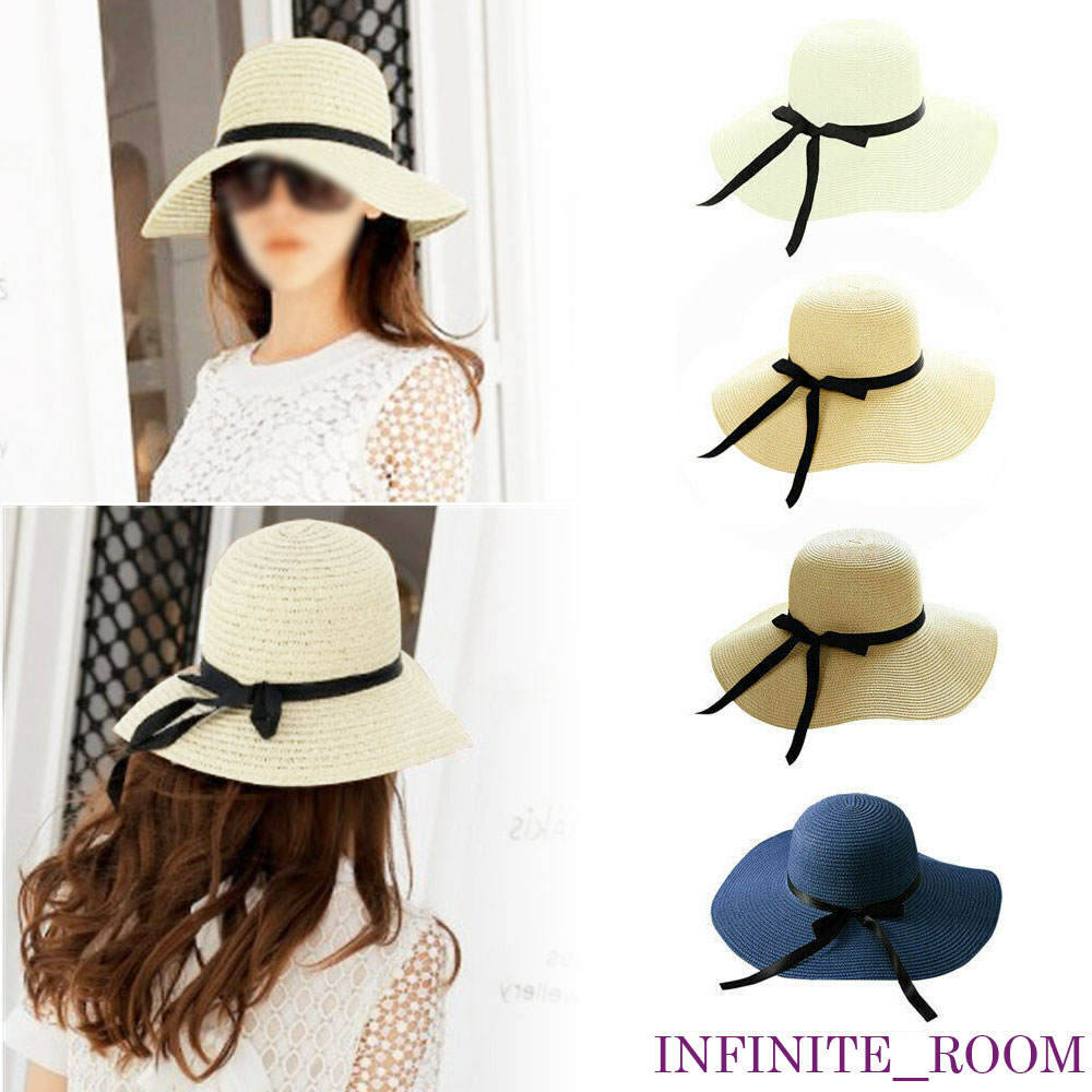 New Women Ladies Floppy Derby Beach Sun Foldable Cap Summer Wide Brim Straw Hat