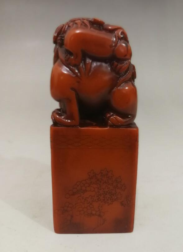10 cm CHINESE SHOUSHAN STONE HAND-CARVED LION STATUE SEAL